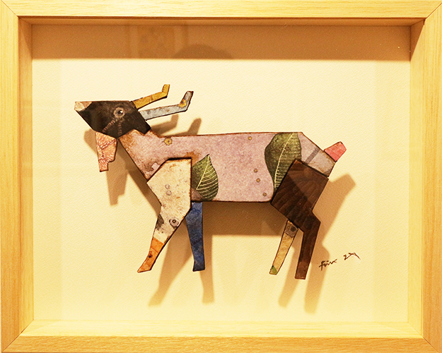 「Patchwork・ヤギ」 h 158×w227mmベニヤ板・段ボール・和紙・岩絵の具・墨・胡粉   2021    sold out